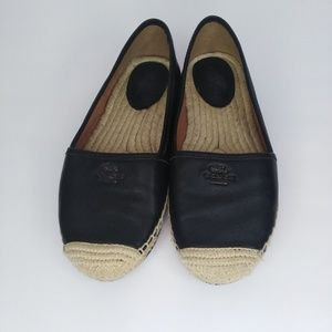 Coach black leather Rhodelle espadrilles/flats 7.5
